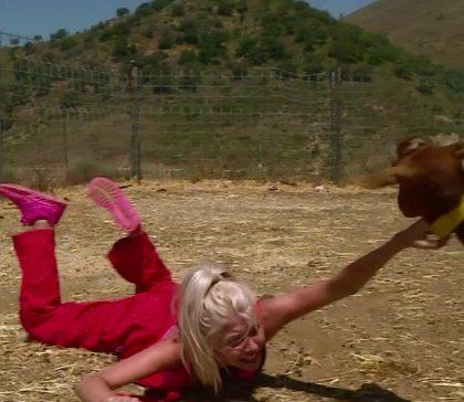 Jessica se fait trainer au sol … par une chèvre !!!