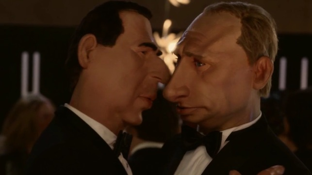 Al Assad et Poutine s'embrassent, dans un sketch des Guignols !!!