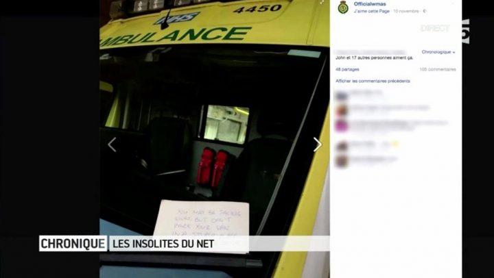 Un message surréaliste, laissé à des ambulanciers !